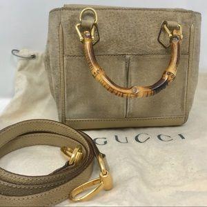 Gucci Bamboo Suede Mini w/ Crossbody Strap Tan